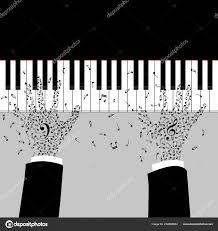 Ruce Hudebník Hraje Klavír Silueta Klíči Poznámka Tetování Houslovým