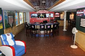 Baseball Man Cave Ideas With Bar Stool And Flooring Fan And Tile Flooring