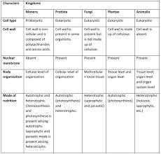 Five Kingdom Classification Chart Kingdom Plantae And Animalia