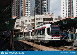 Vta Light Rail Timetable Lightrail And Station In Tin Shui Wai Editorial Stock Photo