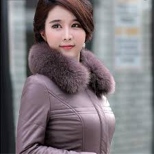 2019 women winter leather jacket with large fur collar slim cotton warm coat 4xl 5xl 6xl large size parkas for mid aged woman ds50279 from shuokai1995