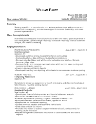 Pleasant Resume For Fresh Graduate Accounting About Sample Resume
