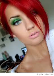 red hair and green eye makeup