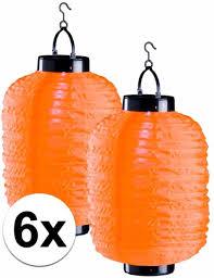 6x Oranje Solar Lampionnen 20 X 35 Cm Zonne Energie Lampion