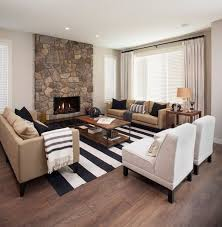 white and black rugs in contemporary living room to tie grey black and tan living room