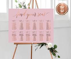 Seating Chart Wedding Copper Wedding Sign Find Your Seat Seating Chart Pink Range
