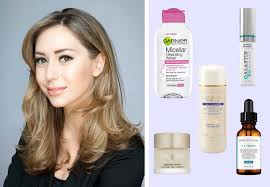 dr shereene idriss her favorite skincare s on a purple background