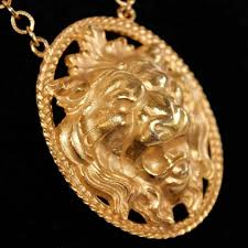 vintage napier gold plated lion head pendant gold filled chain by francis fujio