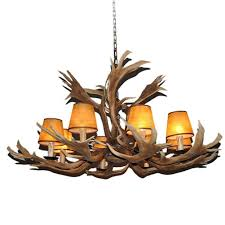 replica white tail deer antler chandelier with lamp shades large light fixture