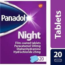 Panadol Night Tablets Paracetamol Diphenhydramine Hcl 500mg 25mg 20s
