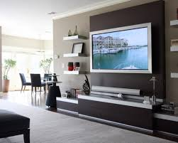 decorative wall mount tv design with modern tv stand for contemporary living room ideas