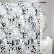 black and gray shower curtain. storm frosted shower curtain in black/white black and gray