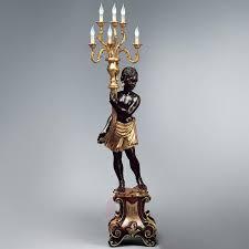Vloerlamp Van Massief Hout Bruin Goudkleur