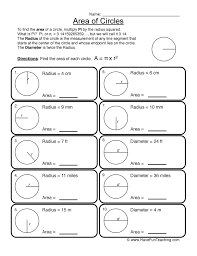 Area of Circles - Circles Worksheet 2