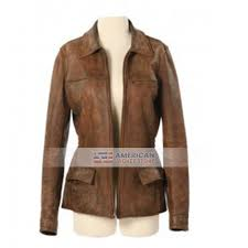 womens katniss distressed brown leather jacket