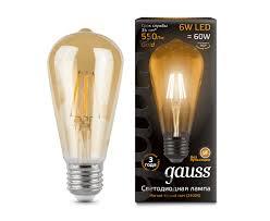 <b>Лампа Gauss LED Filament</b> ST64 E27 6W Gold 550lm 2400К ...