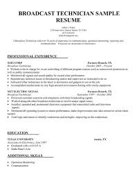 Electronics Technician Resume Samples Broadcast Technician Resume Sample Resume Samples Across All