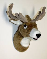 plush deer head bowie small wall mount