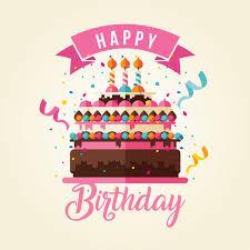 Cake Theme Happy Birthday Card Illustration Vector