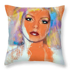 Funky throw pillows Pillow Covers Debbie Harry Throw Pillow Featuring The Painting Debbie Harry Orange Funky Grunge By Felix Von Fine Art America Debbie Harry Orange Funky Grunge Throw Pillow For Sale By Felix