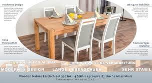 Wooden Nature Esstisch Set 350 Inkl 4 Stühle Grau Weiß Buche