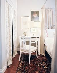 The desk-as-nightstand setup, seen here in a bedroom from Lonny, is a great  way to make furniture do double duty in small ...
