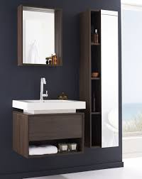 mesmerizing bathroom storage design with floating white and brown wooden tall bathroom cabinet beside floating vanity brown bathroom furniture