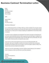 Termination Letter Template Business Contract Termination Letter Award Of New Template