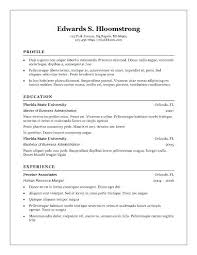 Blank Resume Templates For Microsoft Word Impressive Resume Template In Microsoft Word Mycola