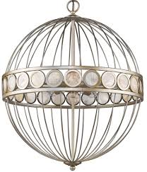 aria silver sphere chandelier mother of pearl accents 20 wx24 h