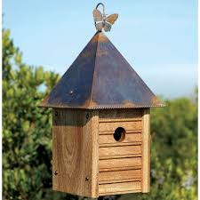 Birdhouse Homestead Wooden Bird House With Copper Roof Yard Envy