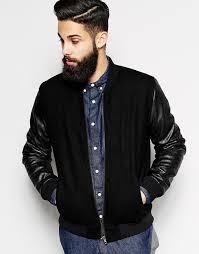 black er jackets asos brand wool er jacket with leather look sleeves
