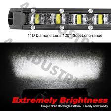"2Pcs 8"" <b>60W</b> Cree Single Row LED Light Bar <b>Super Slim</b> Spot Flood ..."