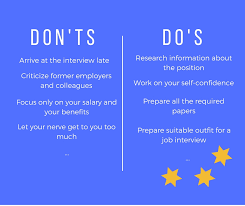 The Do S And Don Ts Of An Interview Job Interview Comprehensive List Of Dos And Donts