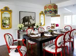 dining room set with red chairs. white print fabric dining chairs and black table: full size room set with red h