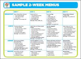 one week menu planner sample 2 week menus choose myplate