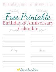 Perpetual Birthday Calendar Template Printable | Calendar Printable Free