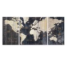 3 piece world map wall art walmart