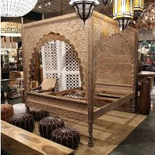 Shop this bed at Mix Furniture! Carved Wood Relief Canopy Bed ...