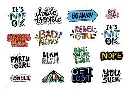 Set Of Lettering For Patches And Stickers With Fun Quotes About