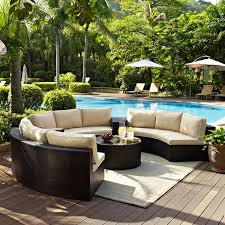 outdoor furniture biltmore 5 piece outdoor sectional and coffee table set brown