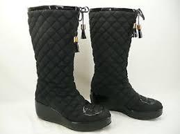 Tory Burch GiGi Black Quilted Tassel Wedge Boots Sz 7.5M - Tear in ... & Image is loading Tory-Burch-GiGi-Black-Quilted-Tassel-Wedge-Boots- Adamdwight.com