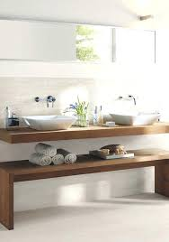 wooden bathroom bench floating counter top and a wooden bench that may be used for storage