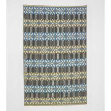 reversible recycled moroccan blue indoor outdoor rug 5 x 8 vivaterra