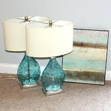 aqua glass table lamp two lamps with art print wave recycled