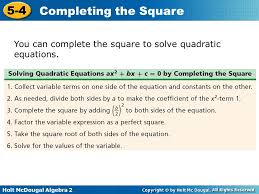 7 you can complete the square to solve quadratic equations