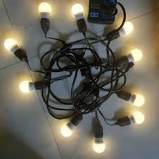 Dây đèn trang trí ngoài trời với dây đui đèn thả E27 chống nước loại tốt  loại 10 đui kèm 10 bóng led 3w chính hãng 135,000đ