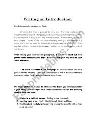 Example Of Introduction Paragraph To An Essay English Worksheets Writing An Introduction To A 5 Paragraph