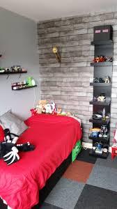 Minecraft Bedroom, Using Ikea Furniture In Black, Red U0026 Grey Colour Scheme  Wooden Plank Effect Wallpaper