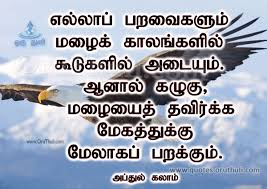 Eagle Flying Over Clouds Abdul Kalam Oruthuli Quotes